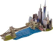 Бруклински мост и Манхатън, Ню Йорк - 3D дървен пъзел -