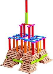 Детски дървен конструктор - Ema - С плоски блокчета -