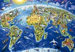 Световни забележителности - Глобус - пъзел
