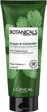 """L'Oreal Botanicals Ginger & Coriander Strengthening Conditioner - Подсилващ балсам за крехка коса с джинджифил и кориандър от серията """"Botanicals - Ginger & Coriander"""" - серум"""