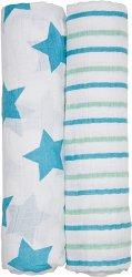 """Бебешки муселинови пелени - Stars & Stripes - Комплект от 2 броя от серията """"4Babies & Kids"""" - продукт"""