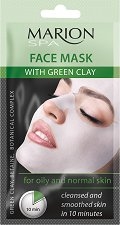 """Marion SPA Face Mask with Green Clay - Текстилна маска за лице със зелена глина за мазна и нормална кожа от серията """"SPA"""" - гел"""