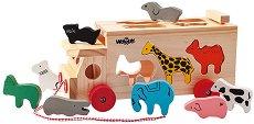 Камионче с животни - Детска дървена играчка за сортиране и дърпане -