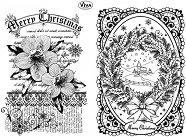 Силиконови печати - Коледна роза и пейзаж - Размер 14 х 18 cm -