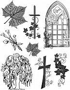 Силиконови печати - Кръстове и растения - Размер 14 х 18 cm -