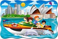 Моторна яхта в Сидни - Пъзел в нестандартна форма с едри елементи - пъзел