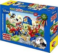 Мики Маус и приятели - Двулицев пъзел с 24 цветни флумастера -