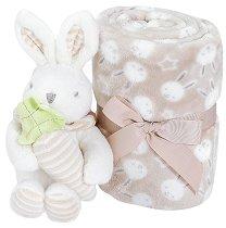 Бебешко микрофибърно одеяло - 80 x 110 cm - Комплект с плюшено зайче -