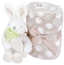 Бебешко микрофибърно одеяло - 80 x 110 cm - Комплект с плюшено зайче - продукт