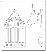 Mатрица за машина за изрязване и релеф - Птица в кафез