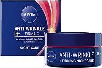 Nivea Anti-Wrinkle + Firming Night Care 45+ - Стягащ нощен крем за лице против бръчки - олио