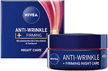 Nivea Anti-Wrinkle + Firming Night Care 45+ - Стягащ нощен крем за лице против бръчки - душ гел