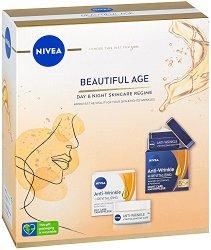 Подаръчен комплект - Nivea Beautiful Age - Дневен и нощен крем за лице против бръчки -