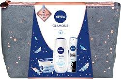Подаръчен комплект с несесер - Nivea Glamour - Крем за лице и тяло, спрей дезодорант и душ крем - продукт