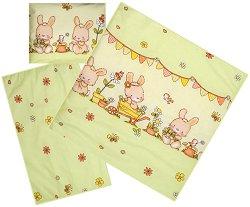 Ватиран спален комплект за бебешка количка - Bunnies - 4 части -