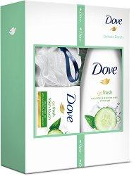 Подаръчен комплект - Dove Delicate Beauty - Душ гел, крем сапун и мрежеста гъба за баня -