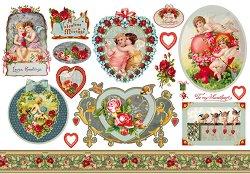 Декупажна хартия - Сърца и ангели - Размери 50 x 35 cm