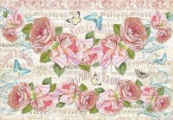 Декупажна хартия - Рози - Размери 50 x 35 cm