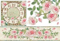 Декупажна хартия - Часовник и рози