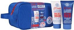 Grace Cole Keep It Clean - Подаръчен комплект за мъже с козметика за баня и несер - ролон