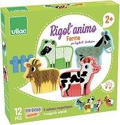 Животните от фермата - Детски дървен пъзел с магнити -