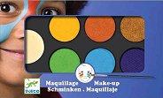 Бои за лице в натурални цветове - Комплект от 6 цвята с гъба и четка за нансяне - боя