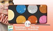 Бои за лице в металикови цветове - Комплект от 6 цвята с гъба и четка за нансяне - боя