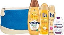 Подаръчен комплект - Fa Honey Elixir & Schauma Nature Moments - Шампоан, душ гел, дезодорант и паста за зъби -