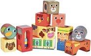 Активни кубчета - Животните във фермата - Дървени образователни играчки -