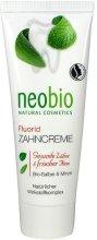 Neobio Fluorid Toothpaste - Паста за зъби с флуорид, мента и градински чай - маска