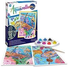 Създай сам фосфоресцираща картина - Подводен свят - Творчески комплект за рисуване - играчка
