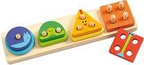 Геометрични форми - Дървена играчка за сортиране -