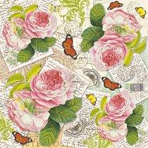 Декупажна хартия - Писма и рози - Размери 50 x 50 cm