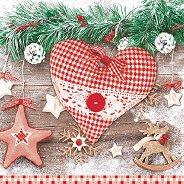Салфетки за декупаж - Коледно сърце