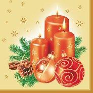 Салфетки за декупаж - Коледни свещи - Пакет от 20 броя