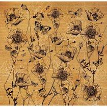 Декупажна хартия - Макове и пеперуди - Размери 50 x 50 cm