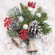 Салфетки за декупаж - Снежна украса - Пакет от 20 броя