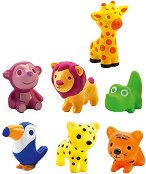 Животни от саваната - Комплект от 7 гумени играчки - играчка