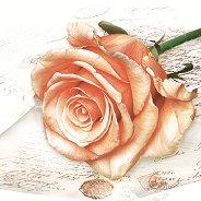 Салфетки за декупаж - Роза и писмо - Пакет от 20 броя