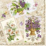 Салфетки за декупаж - Цветя и пеперуди - Пакет от 20 броя