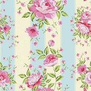 Салфетки за декупаж - Рози върху райе - Пакет от 20 броя