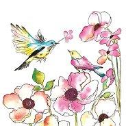 Салфетки за декупаж - Птици и цветя - Пакет от 20 броя