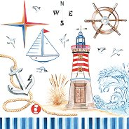 Салфетки за декупаж - Морско пътешествие - Пакет от 20 броя