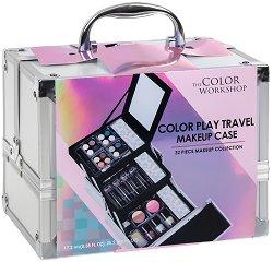 Markwins International Color Play Travel Makeup Case - Комплект с гримове в разгъваем метален куфар -
