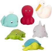 Морски приятели - Комплект от 6 броя играчки за баня - количка