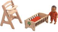 Мебели за детска стая с фигурка на бебе - Обзавеждане за къща за кукли -