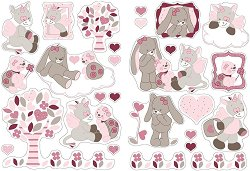 """Текстилни стикери за декориране на бебешка стая - Комплект от серия """"Nina, Jade & Lili"""""""