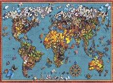 Световна карта с пеперуди - пъзел