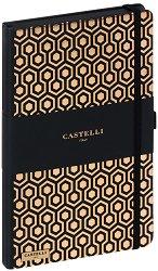 Castelli: Луксозен тефтер с ластик - 13 x 21 cm -