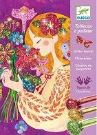 Оцветявай с брокат - Красиви цветя - Творчески комплект за рисуване - образователен комплект